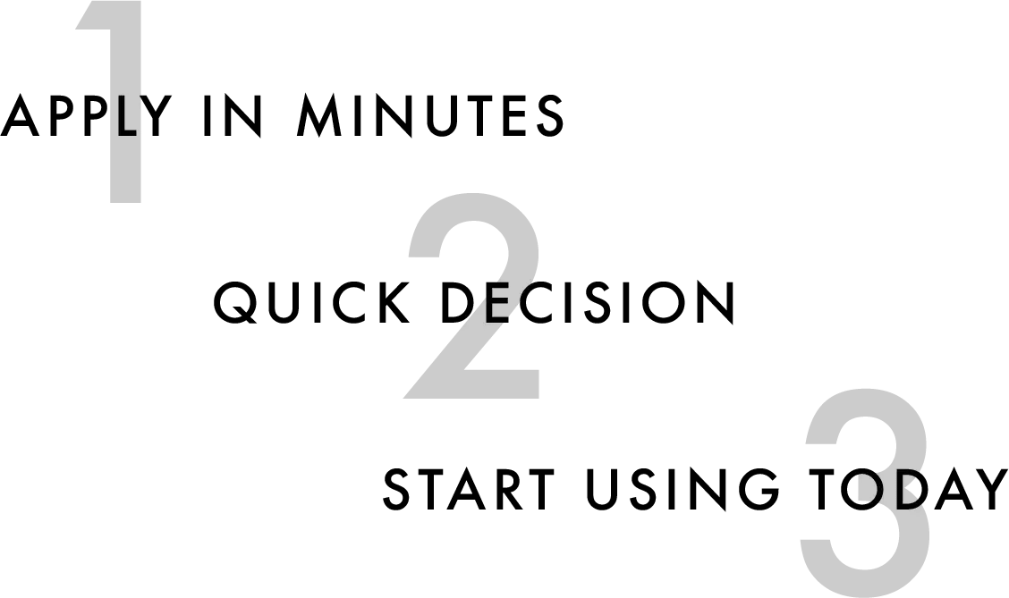 Apply in minutes, quick decision, start using today!