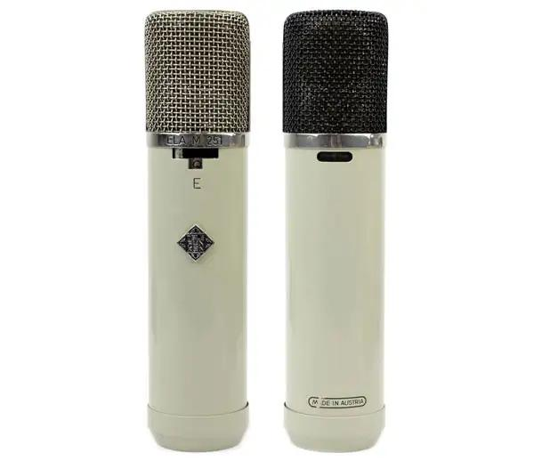 The front and rear on a vintage Telefunken Ela-M 251 E tube mic