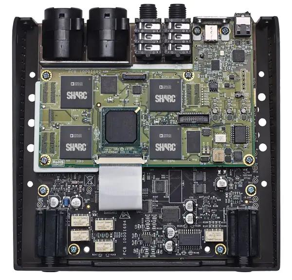 A look inside the UA Apollo Twin MKII QUAD showing the quad SHARC DSP chips