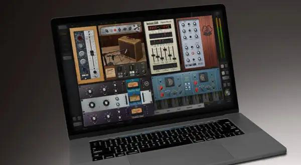 Some UAD plug-in emulations running on a MacBook