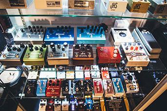 Guitar pedals on display