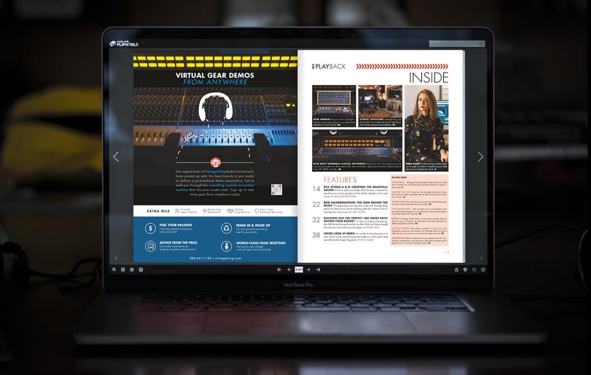 laptop with vintage king magazine displayed