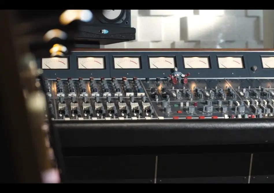 A recording console at Trace Horse studios