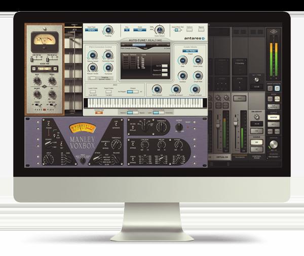 UAD plug-ins loaded up on an Apple iMac computer